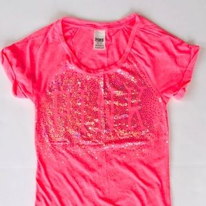 💖PINK Victoria's Secret hot pink sequin top, XS💖